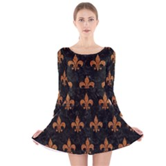 ROYAL1 BLACK MARBLE & RUSTED METAL Long Sleeve Velvet Skater Dress