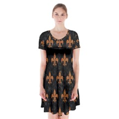 ROYAL1 BLACK MARBLE & RUSTED METAL Short Sleeve V-neck Flare Dress
