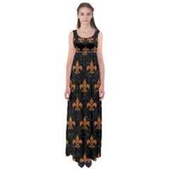 ROYAL1 BLACK MARBLE & RUSTED METAL Empire Waist Maxi Dress