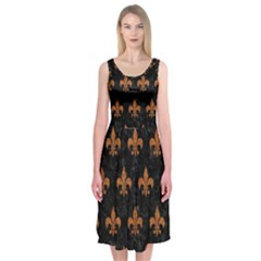 ROYAL1 BLACK MARBLE & RUSTED METAL Midi Sleeveless Dress