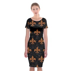 ROYAL1 BLACK MARBLE & RUSTED METAL Classic Short Sleeve Midi Dress