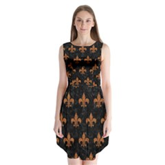 ROYAL1 BLACK MARBLE & RUSTED METAL Sleeveless Chiffon Dress