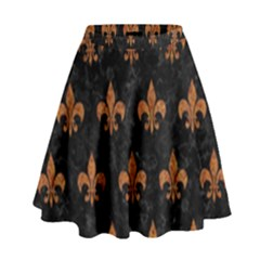 ROYAL1 BLACK MARBLE & RUSTED METAL High Waist Skirt