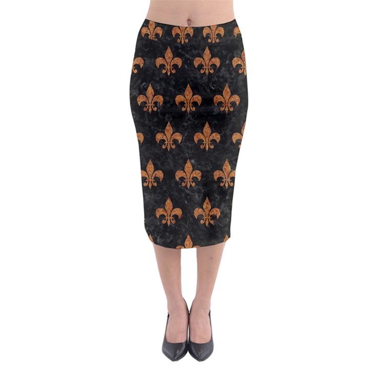 ROYAL1 BLACK MARBLE & RUSTED METAL Midi Pencil Skirt