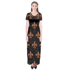 ROYAL1 BLACK MARBLE & RUSTED METAL Short Sleeve Maxi Dress