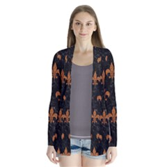 ROYAL1 BLACK MARBLE & RUSTED METAL Drape Collar Cardigan