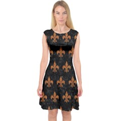 ROYAL1 BLACK MARBLE & RUSTED METAL Capsleeve Midi Dress