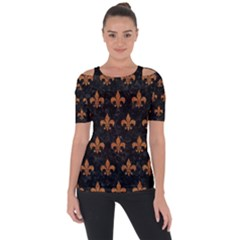 ROYAL1 BLACK MARBLE & RUSTED METAL Short Sleeve Top