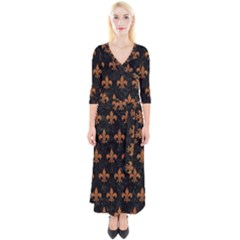 ROYAL1 BLACK MARBLE & RUSTED METAL Quarter Sleeve Wrap Maxi Dress