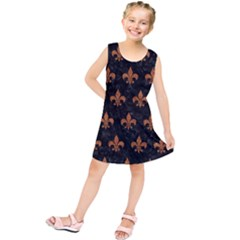ROYAL1 BLACK MARBLE & RUSTED METAL Kids  Tunic Dress