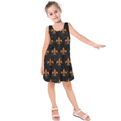 ROYAL1 BLACK MARBLE & RUSTED METAL Kids  Sleeveless Dress