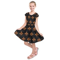 ROYAL1 BLACK MARBLE & RUSTED METAL Kids  Short Sleeve Dress