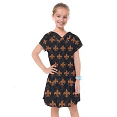ROYAL1 BLACK MARBLE & RUSTED METAL Kids  Drop Waist Dress