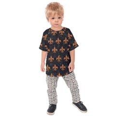 ROYAL1 BLACK MARBLE & RUSTED METAL Kids Raglan Tee