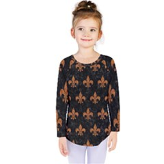 ROYAL1 BLACK MARBLE & RUSTED METAL Kids  Long Sleeve Tee