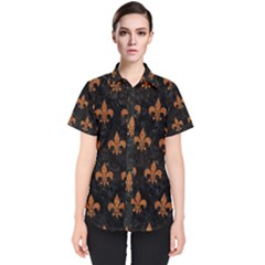 ROYAL1 BLACK MARBLE & RUSTED METAL Women s Short Sleeve Shirt
