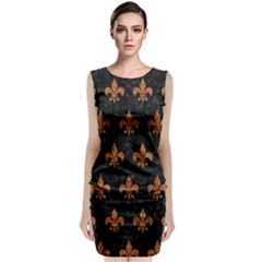 ROYAL1 BLACK MARBLE & RUSTED METAL Sleeveless Velvet Midi Dress