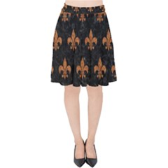 ROYAL1 BLACK MARBLE & RUSTED METAL Velvet High Waist Skirt