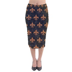 ROYAL1 BLACK MARBLE & RUSTED METAL Velvet Midi Pencil Skirt