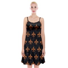 ROYAL1 BLACK MARBLE & RUSTED METAL Spaghetti Strap Velvet Dress