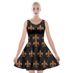 ROYAL1 BLACK MARBLE & RUSTED METAL Velvet Skater Dress