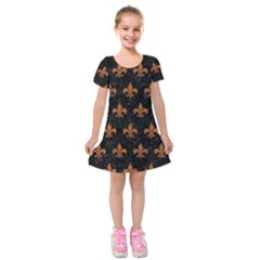ROYAL1 BLACK MARBLE & RUSTED METAL Kids  Short Sleeve Velvet Dress