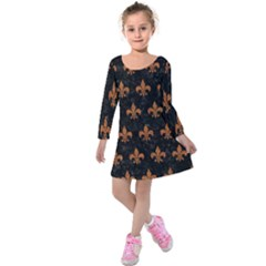 ROYAL1 BLACK MARBLE & RUSTED METAL Kids  Long Sleeve Velvet Dress