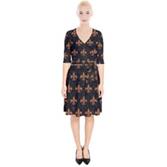 ROYAL1 BLACK MARBLE & RUSTED METAL Wrap Up Cocktail Dress