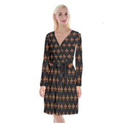 ROYAL1 BLACK MARBLE & RUSTED METAL Long Sleeve Velvet Front Wrap Dress