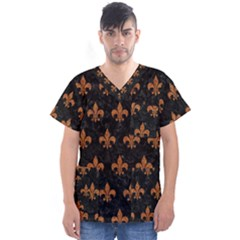 ROYAL1 BLACK MARBLE & RUSTED METAL Men s V-Neck Scrub Top