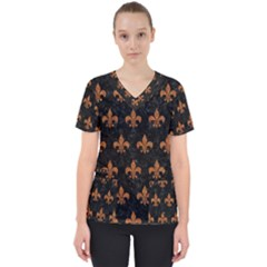 ROYAL1 BLACK MARBLE & RUSTED METAL Scrub Top