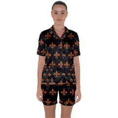 ROYAL1 BLACK MARBLE & RUSTED METAL Satin Short Sleeve Pyjamas Set