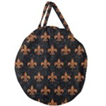 ROYAL1 BLACK MARBLE & RUSTED METAL Giant Round Zipper Tote