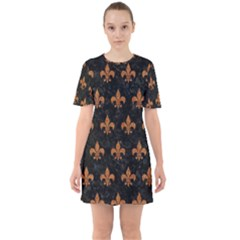 ROYAL1 BLACK MARBLE & RUSTED METAL Sixties Short Sleeve Mini Dress