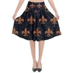 ROYAL1 BLACK MARBLE & RUSTED METAL Flared Midi Skirt