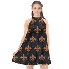 ROYAL1 BLACK MARBLE & RUSTED METAL Halter Neckline Chiffon Dress
