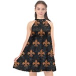ROYAL1 BLACK MARBLE & RUSTED METAL Halter Neckline Chiffon Dress