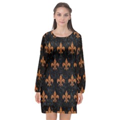 ROYAL1 BLACK MARBLE & RUSTED METAL Long Sleeve Chiffon Shift Dress