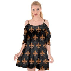 ROYAL1 BLACK MARBLE & RUSTED METAL Cutout Spaghetti Strap Chiffon Dress