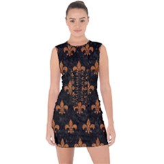 ROYAL1 BLACK MARBLE & RUSTED METAL Lace Up Front Bodycon Dress