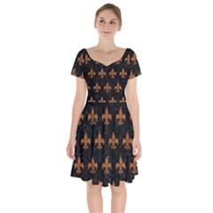 ROYAL1 BLACK MARBLE & RUSTED METAL Short Sleeve Bardot Dress