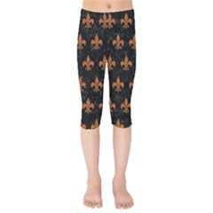 ROYAL1 BLACK MARBLE & RUSTED METAL Kids  Capri Leggings
