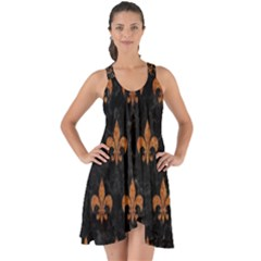 ROYAL1 BLACK MARBLE & RUSTED METAL Show Some Back Chiffon Dress