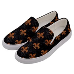 ROYAL1 BLACK MARBLE & RUSTED METAL Men s Canvas Slip Ons