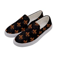 ROYAL1 BLACK MARBLE & RUSTED METAL Women s Canvas Slip Ons