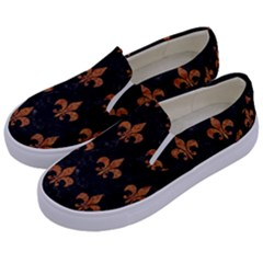 ROYAL1 BLACK MARBLE & RUSTED METAL Kids  Canvas Slip Ons