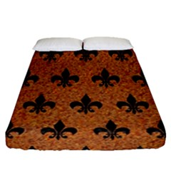 Royal1 Black Marble & Rusted Metal (r) Fitted Sheet (queen Size)