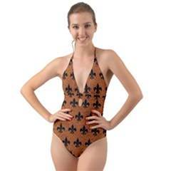 Royal1 Black Marble & Rusted Metal (r) Halter Cut Out One Piece Swimsuit