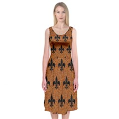 Royal1 Black Marble & Rusted Metal (r) Midi Sleeveless Dress