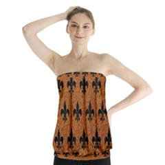 Royal1 Black Marble & Rusted Metal (r) Strapless Top